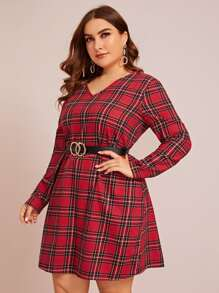 plus v-neck tartan dress without belt