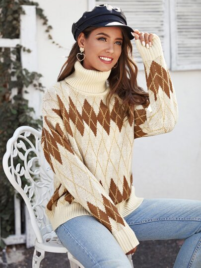 Rolled Neck Drop Shoulder Argyle Sweater