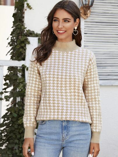 Houndstooth Pattern Fuzzy Sweater