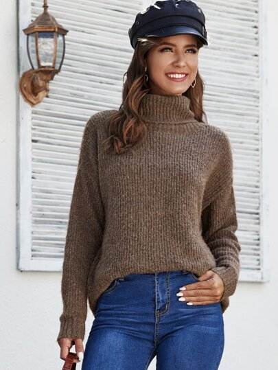 Turtle Neck Drop Shoulder Oversized Sweater