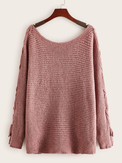 Lace Up Sleeve Chenille Jumper