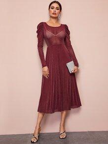 Gigot Sleeve Glitter Mesh Dress Without Cami Dress - $20.00