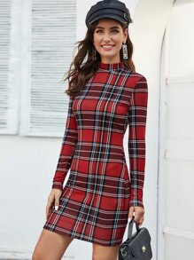 Mock Neck Plaid Bodycon Dress