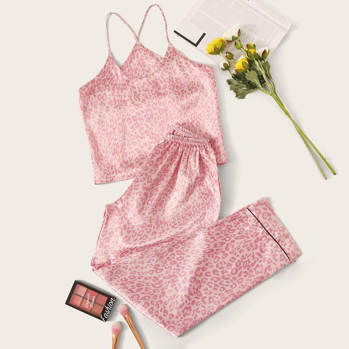 Леопардовая атласная пижама