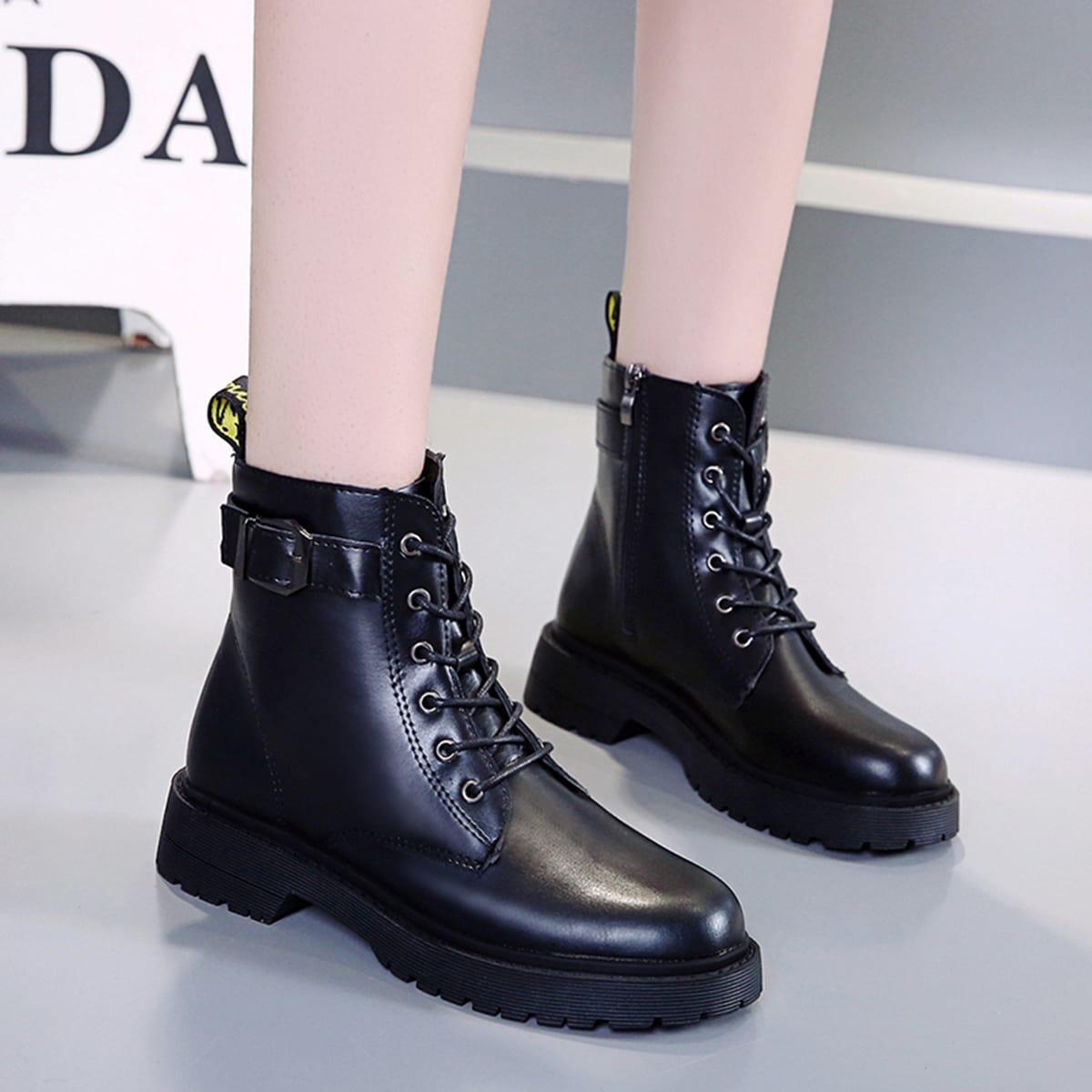 Чёрный Одноцветный Удобный Осенняя/зимняя обувь