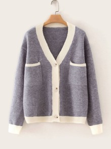 Contrast Panel Dual Pockets Button Up Cardigan
