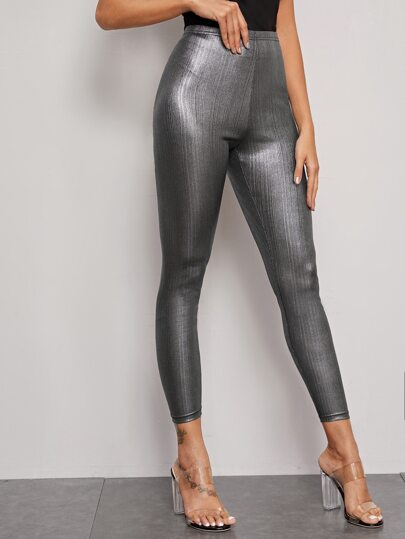 Metallic Cropped Leggings