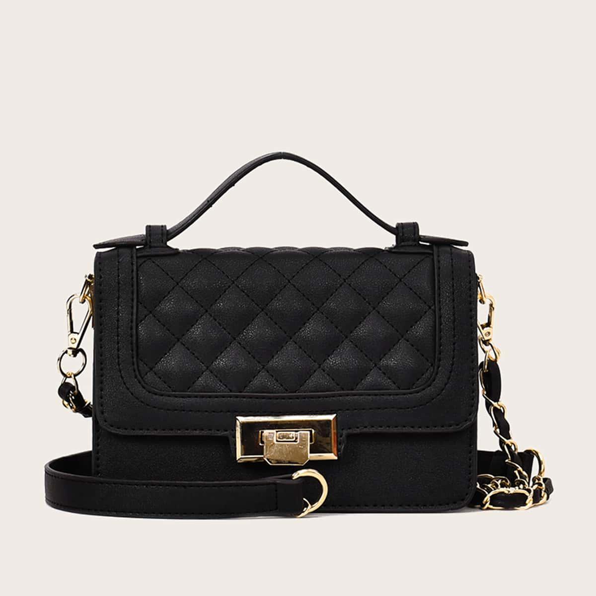 Стеганая сумка-портфель с клапаном