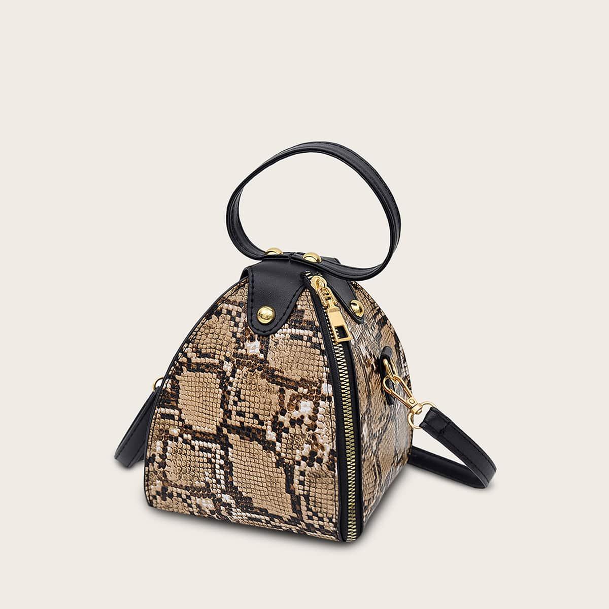 Сумка-портфель с змеиным принтом