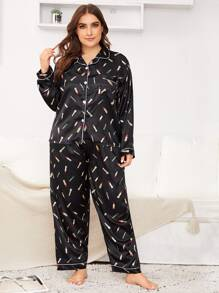 Plus Cartoon Lipstick Button-up Satin PJ Set