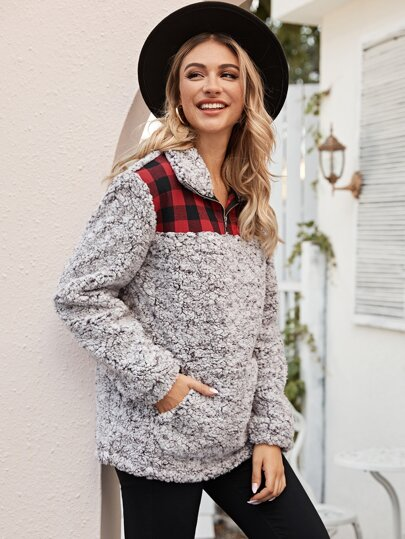 Contrast Plaid Half Zip Teddy Sweatshirt