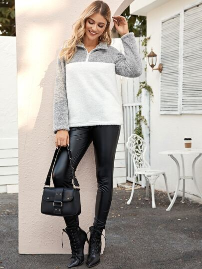 Color-Block Half Zip Teddy Sweatshirt
