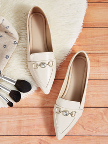 Jewelled Decor Point Toe Flat Loafers