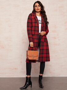 Plaid Lapel Collar Midi Coat