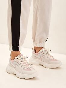 Holographic Detail Lace-up Front Chunky Sneakers
