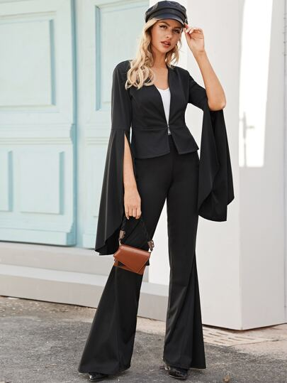 Solid Split Sleeve Blazer & Flare Leg Pants