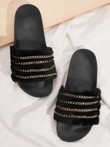 Chain Decor Open Toe Fluffy Sliders