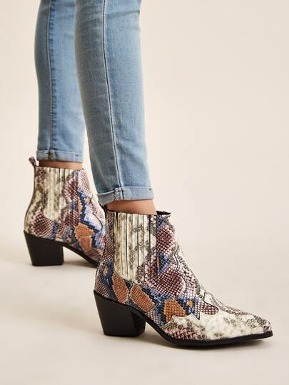 Point Toe Snakeskin Print Chunky Boots