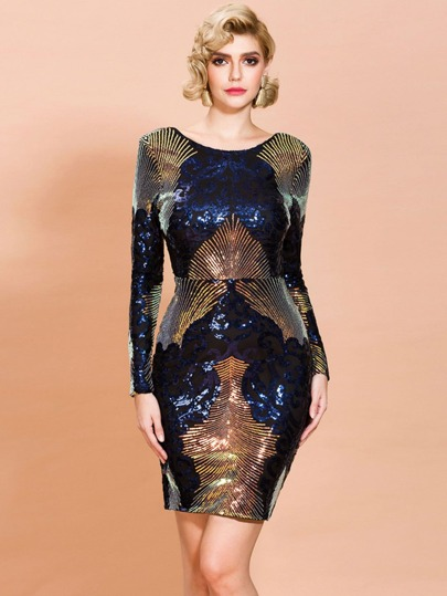 Missord Backless Sequin Bodycon Dress