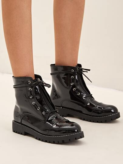 Zip Front Lace-up Combat Boots