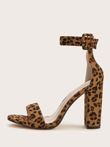 Leopard Print Ankle Strip Chunky Heels