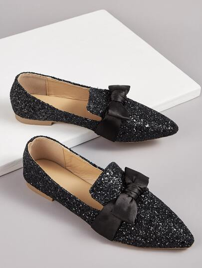 Bow Decor Glitter Flat Loafers