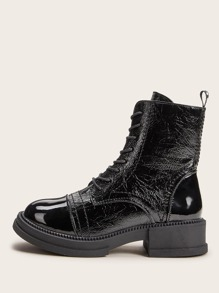 Patent Toe Side Zip Combat Boots