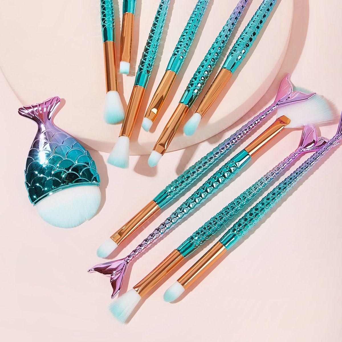 Кисть для макияжа с ручкой в форме русалочки 11шт