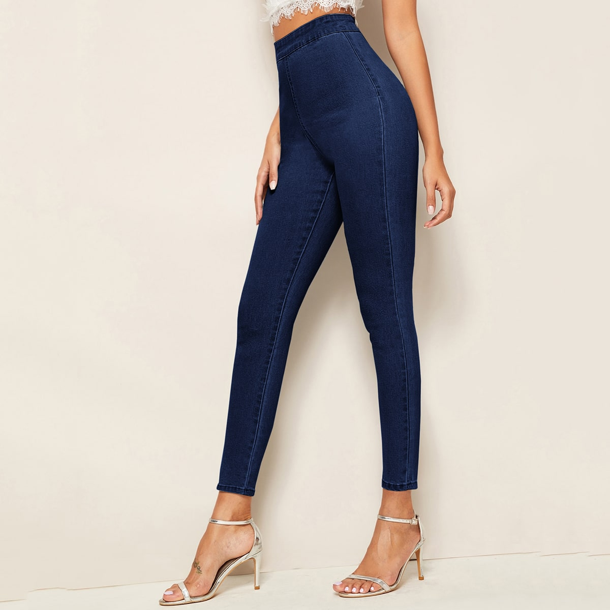 Dark Wash High-Waisted High Stretch Skinny Jeans