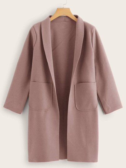 Shawl Collar Double Pocket Coat