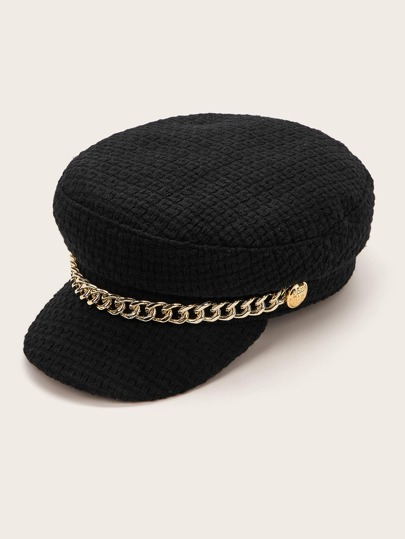 Chain Decor Bakerboy Hat
