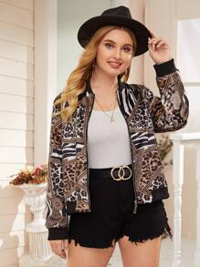 Plus Leopard Print Zip Up Bomber Jacket