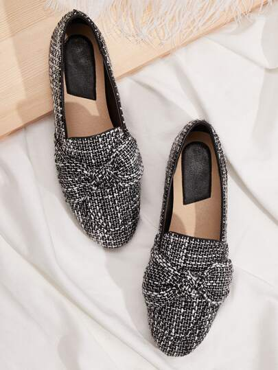 Bow Decor Wide Fit Flat Loafers