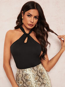 Solid Twist Front Halter Top