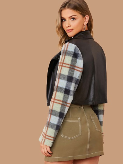 Plaid Faux Fur Sleeve Biker Jacket