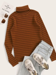 Rolled Neck Striped Fitted Sweater