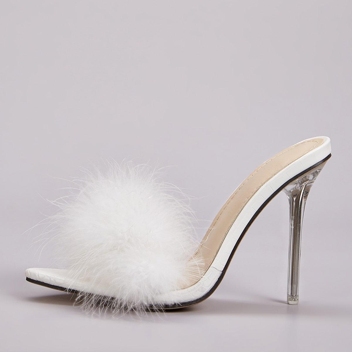 Туфли на шпильках с искусственным мехом