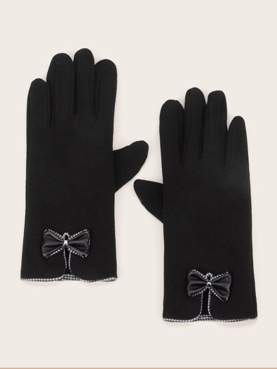 1pair Bow Knot Decor Gloves