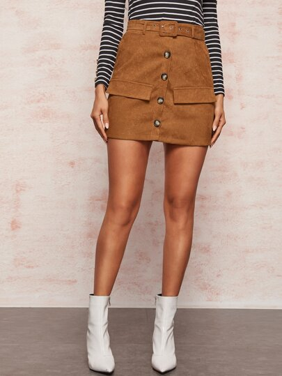 Button Front Belted Corduroy Skirt