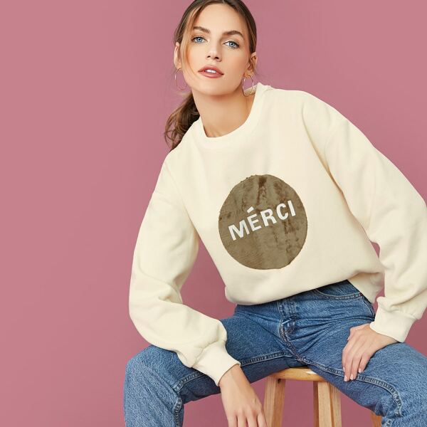 Faux Fur Merci Graphic Pullover Sweatshirt, Beige
