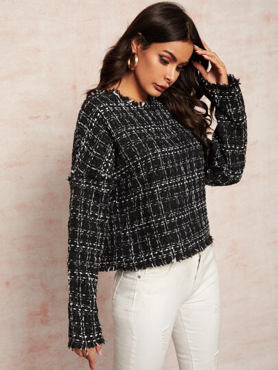 Plaid Frayed Edge Tweed Blouse