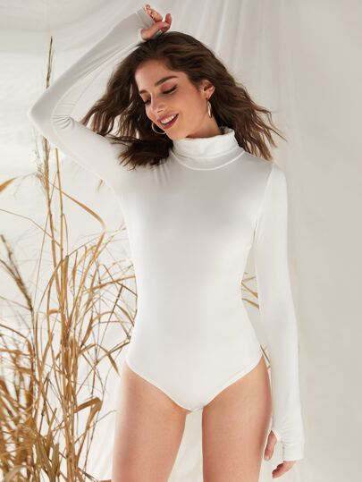 High Neck Bodysuit With Thumb Holes
