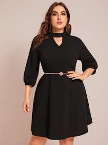 Plus V-cut Front A-line Dress Without Belt
