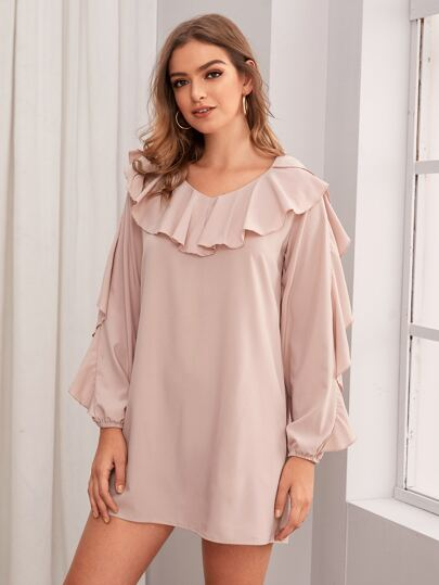 Solid Ruffle Trim Tunic Dress
