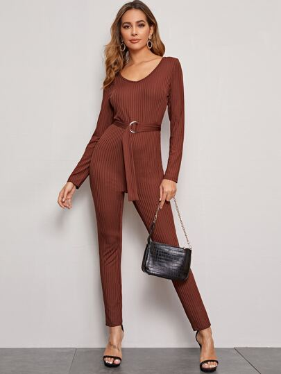 Solid Belted Rib-knit Skinny Jumpsuit