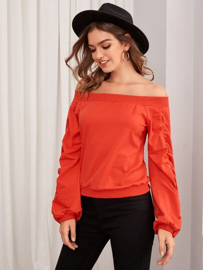 Neon Orange Off The Shoulder Sweatshirt