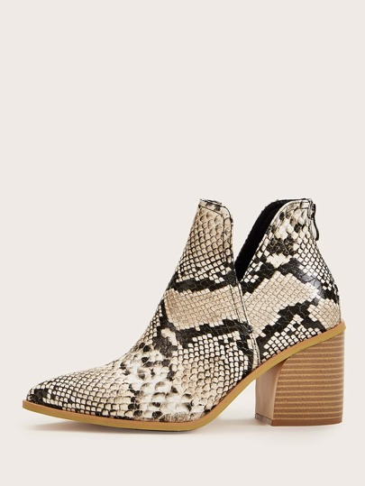 Point Toe Snakeskin Side Cut Chunky Boots