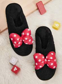 Polka Dot Bow Decor Fuzzy Slippers