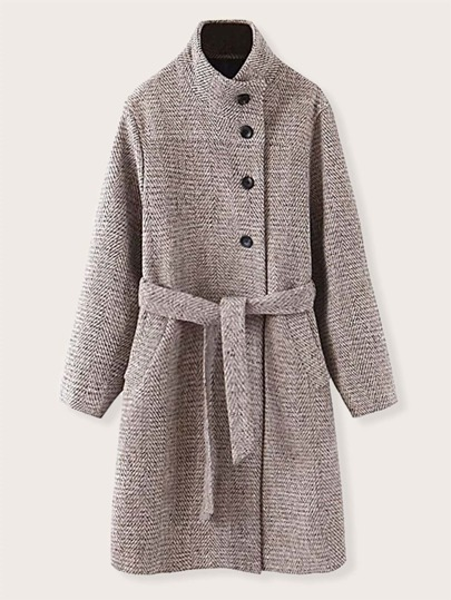 Funnel Neck Button Front Belted Overcoat