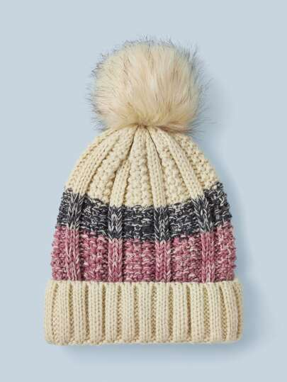 Striped Pom-pom Decor Beanie